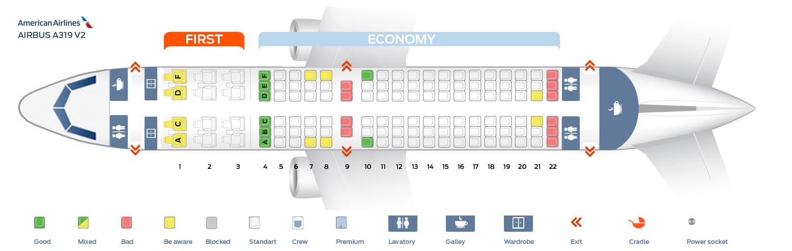 Seat map airbus a319 100 american airlines best seats for American airlines plane types