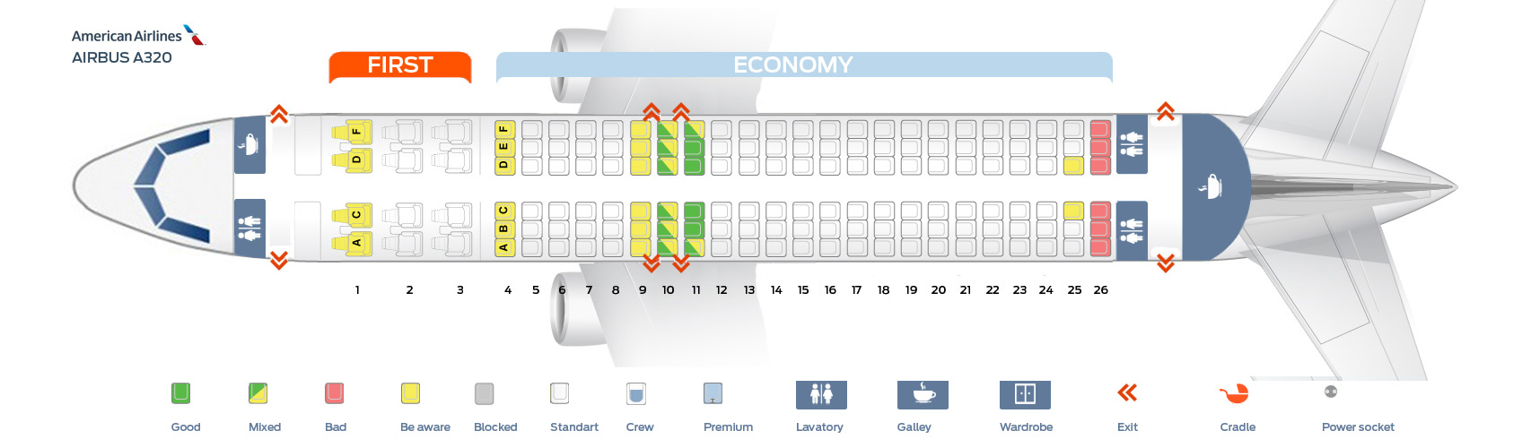Seat Map Airbus A320 200 Quot American Airlines Quot Best Seats
