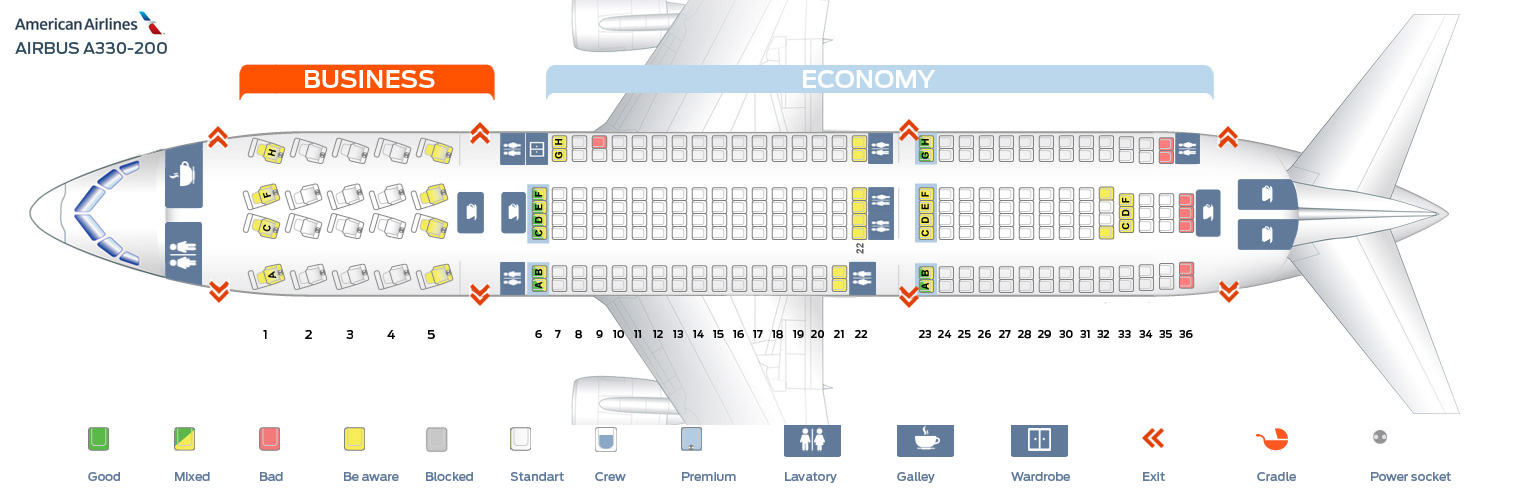seat map of the airbus a330 200