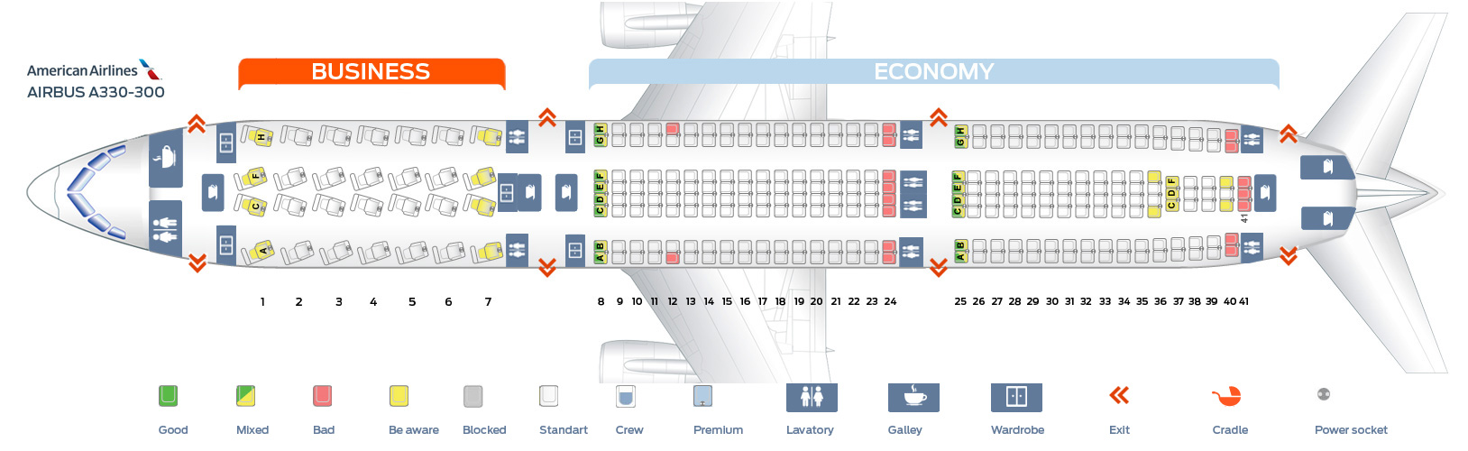 Airbus A330-300 Seat Map Seat map Airbus A330 300