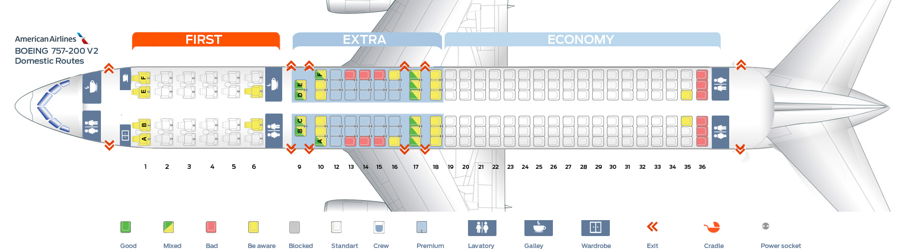 Seat Map Boeing 757200 American Airlines Best Seats In The Plane. First Cabin Version Of The Boeing 757200. Seat. Airplane Seating Schematic At Scoala.co