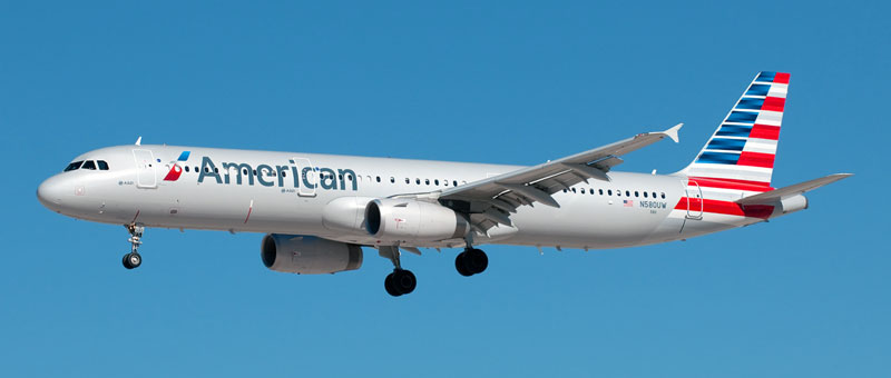 Seat map of the Airbus A321 American Airlines