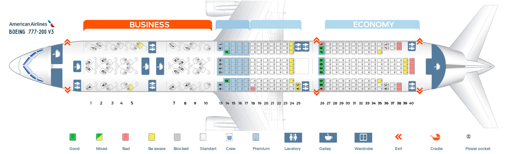American Airlines Seat Map Boeing 777-200 V3
