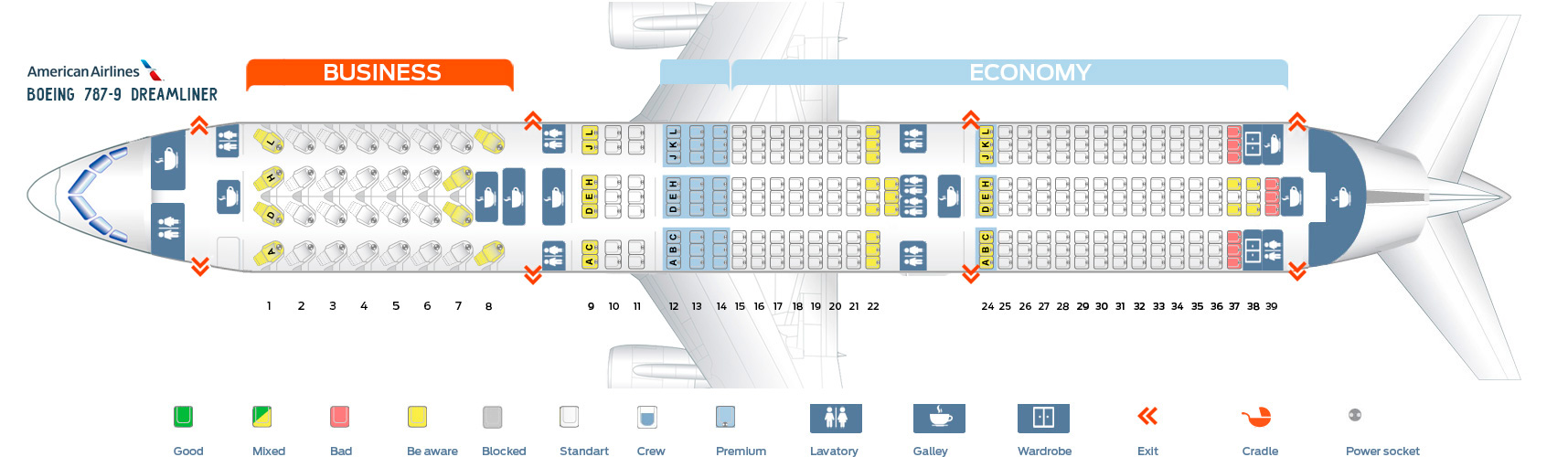 American Airlines Seat Map Boeing 787-900