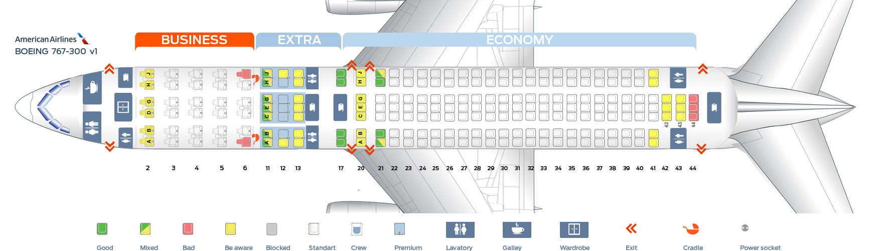 Aa Seat Map Seat map Boeing 767 300 American Airlines. Best seats in the plane