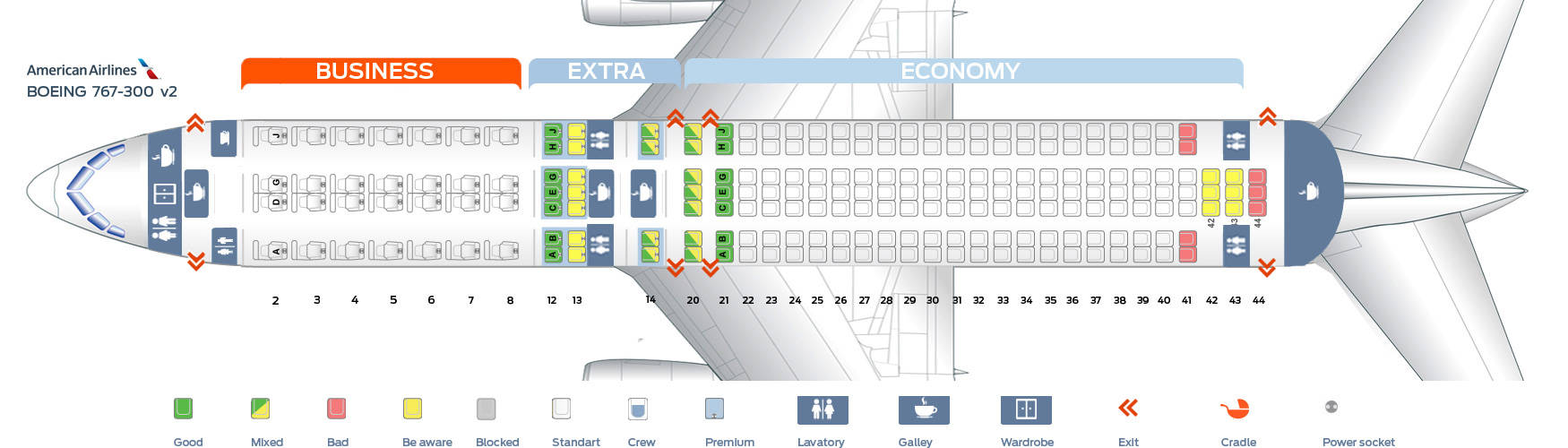 Seat Map Boeing 767 300 American Airlines Best Seats In The Plane