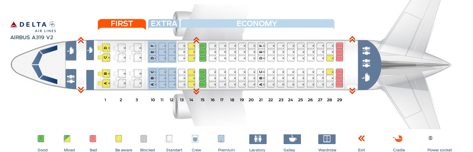 Airbus A319 Seat Map Seat map Airbus A319 100 Delta Airlines. Best seats in plane