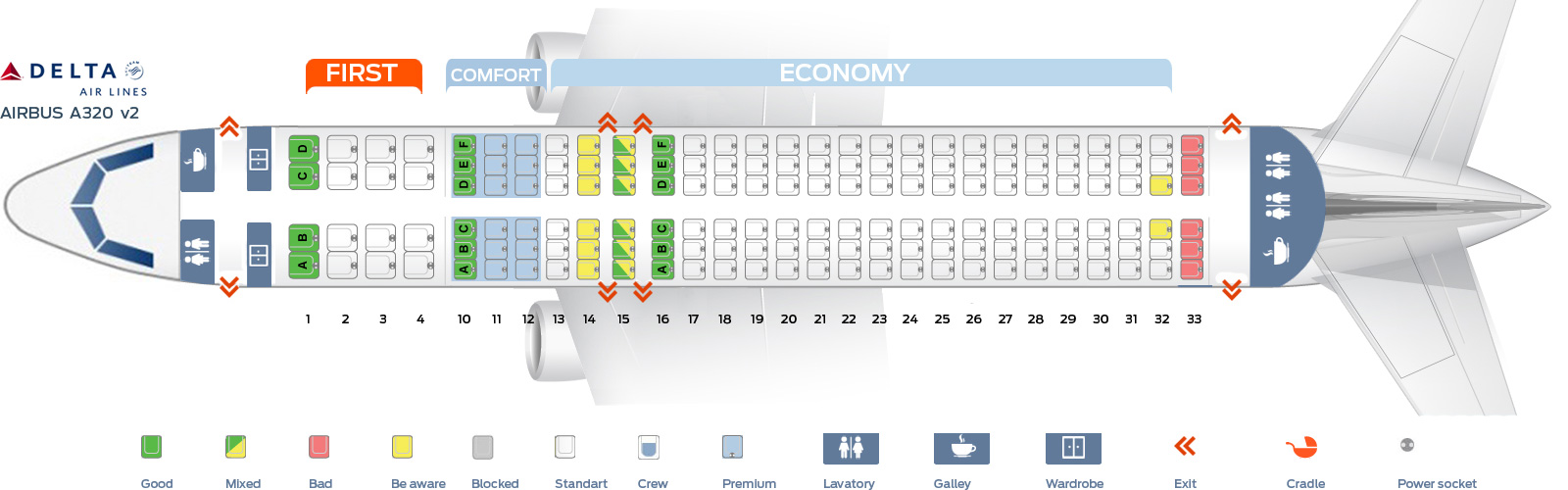 Seat Map Airbus A320 200 Delta Airlines Best Seats In Plane