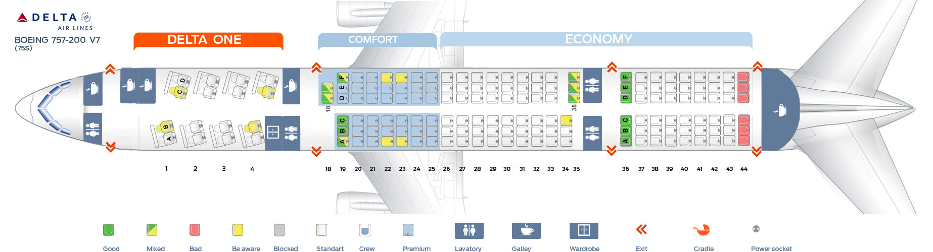 Seat map boeing 757 200 delta airlines best seats in plane for Delta main cabin vs delta comfort