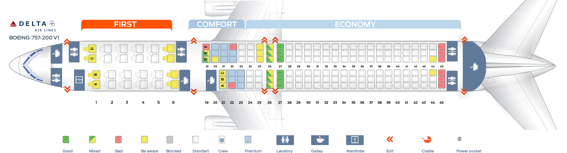 Delta boeing 757 seating chart bing images for Delta main cabin vs delta comfort
