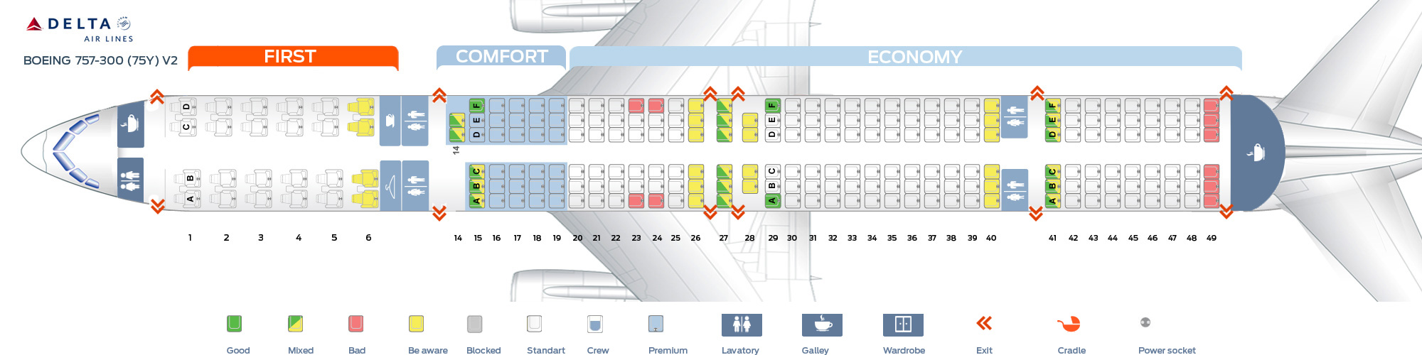 Seat Map Boeing 757 300 Delta Airlines Best Seats In Plane
