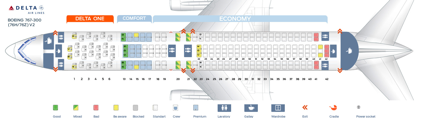 Seat map boeing 767 300 delta airlines best seats in plane for Delta main cabin vs delta comfort