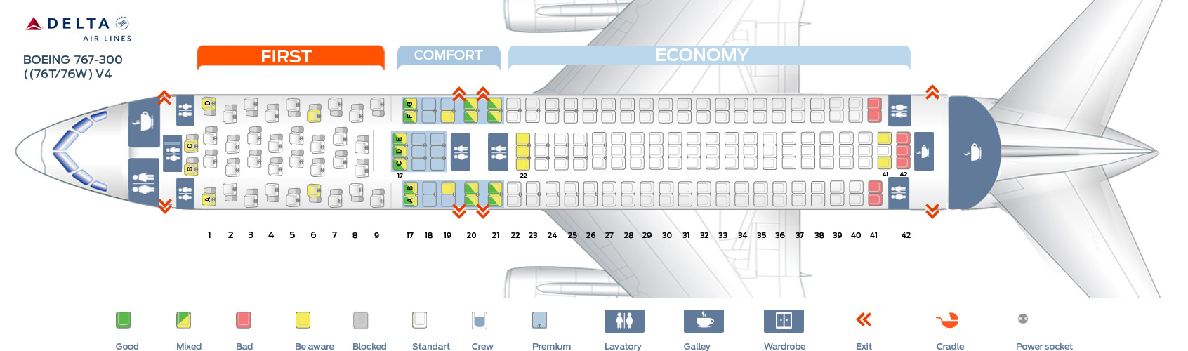seat map boeing 767 300 delta airlines best seats in plane