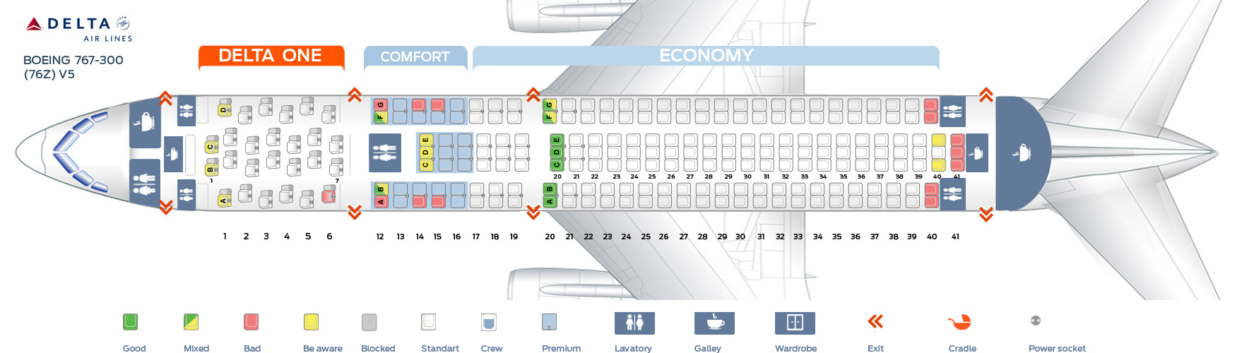 Seat map Boeing 767-300 Delta Airlines. Best seats in plane Delta Boeing Seat Map on