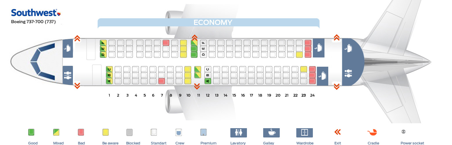 seat map boeing 737 700 southwest airlines best seats in plane