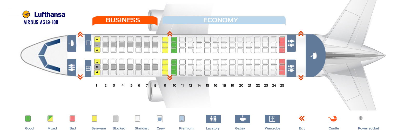 Airbus A319 Seat Map Seat map Airbus A319 100 Lufthansa. Best seats in plane
