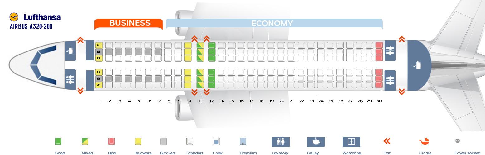 Lufthansa Seat Map Seat map Airbus A320 200 Lufthansa. Best seats in plane