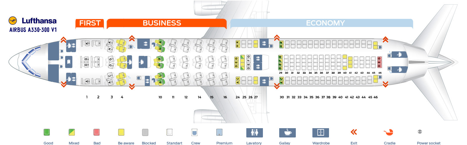 seat map airbus a330 300 lufthansa best seats in plane