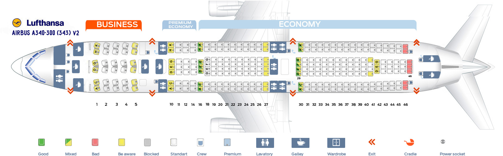 Seat Map Airbus A340 300 Lufthansa Best Seats In Plane
