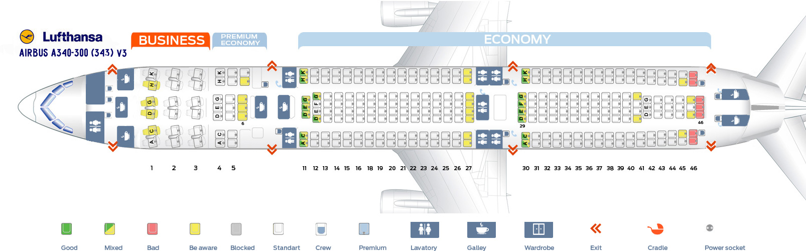 Lufthansa Seat Map A340 600 Seat Map Airbus A340 300