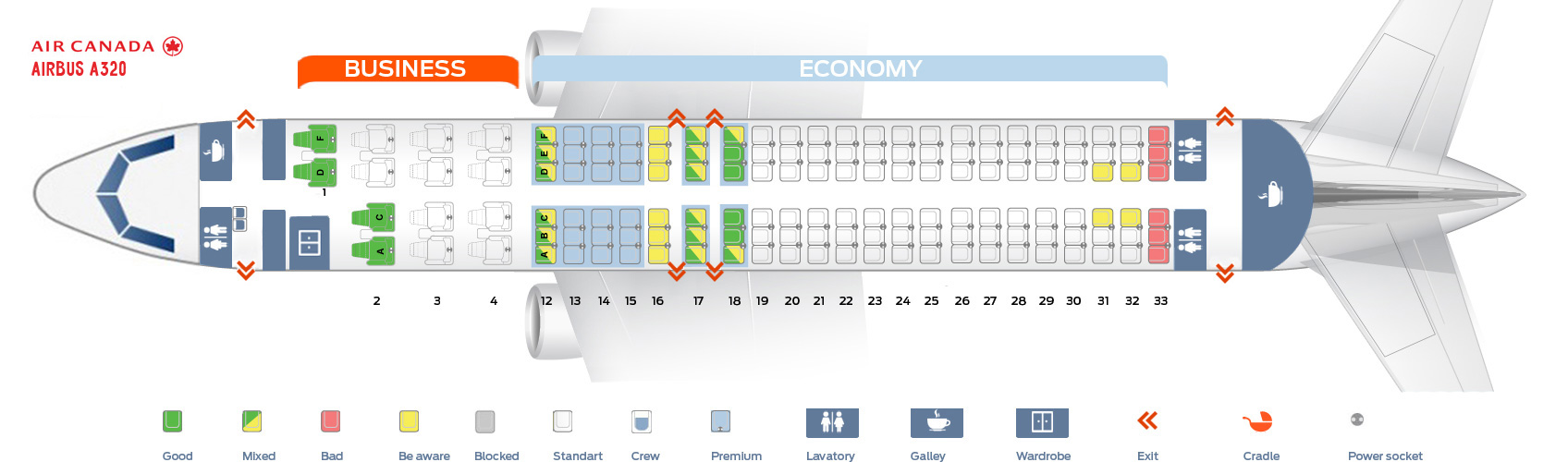 Seat map Air Canada Airbus A320