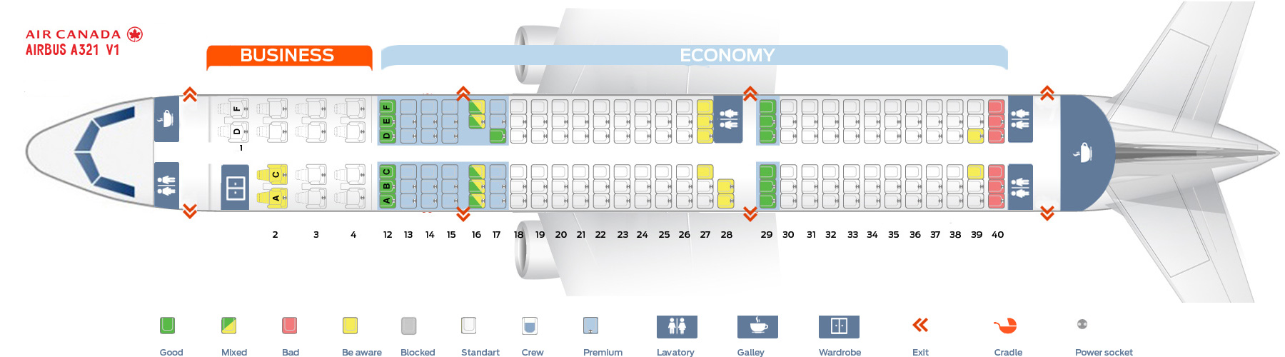 Air Canada 321 Seat Map Seat map Airbus A321 200 Air Canada. Best seats in plane