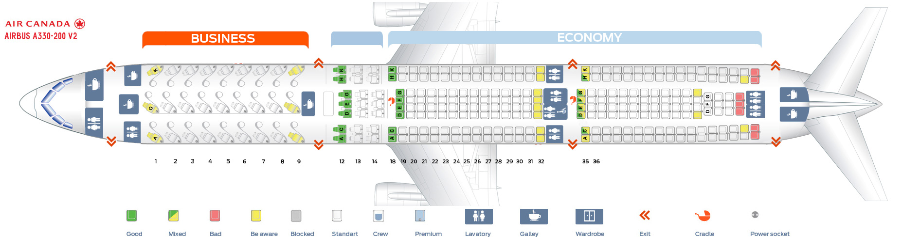 Seat map Airbus A330-300 Air Canada. Version 2
