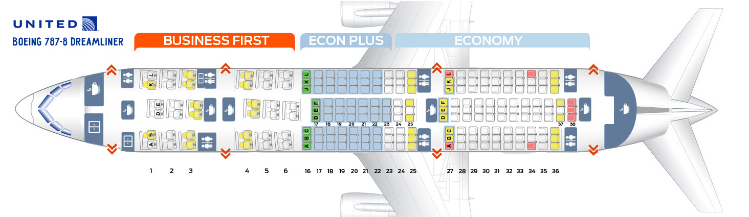 Seat map Boeing 787-8 Dreamliner United Airlines