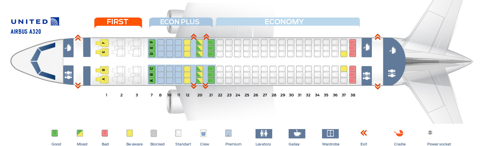 Seat map Airbus A320-200 United Airlines  Best seats in plane