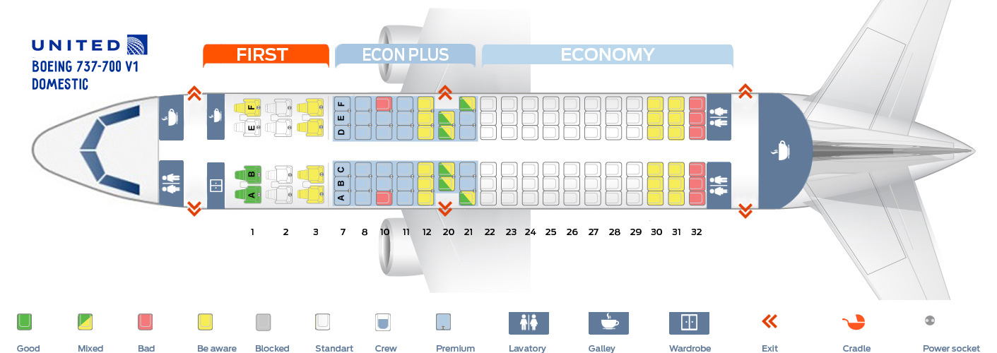 seat map boeing 737 700 united airlines best seats in plane