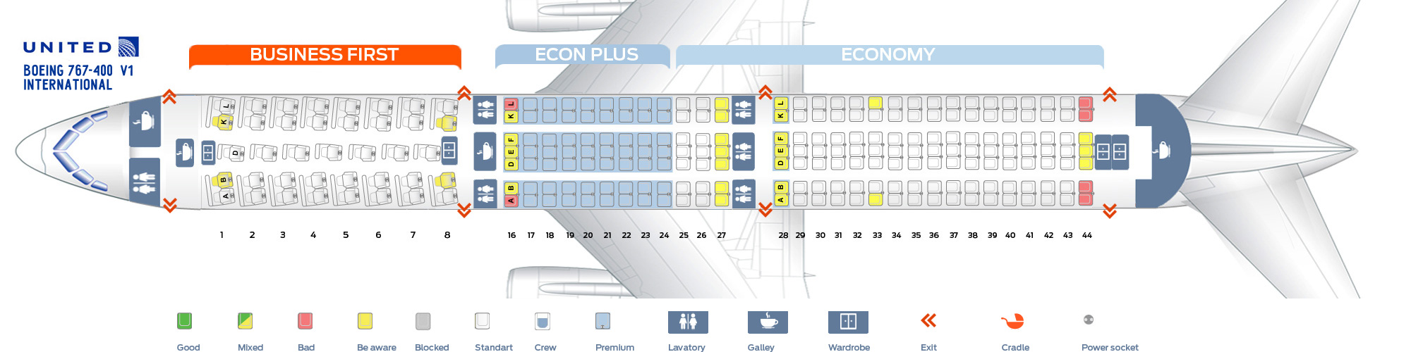 Boeing 767 Jet Seat Map | Elcho Table on