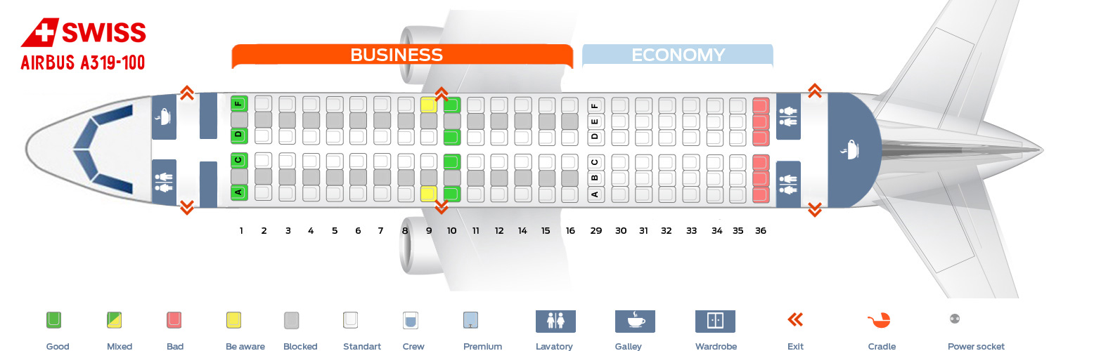 Seat Map Airbus A319 Swiss Airlines