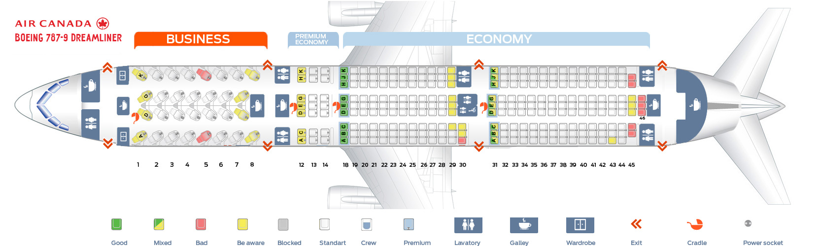 Air Canada Seat map Boeing 787-9 Dreamliner