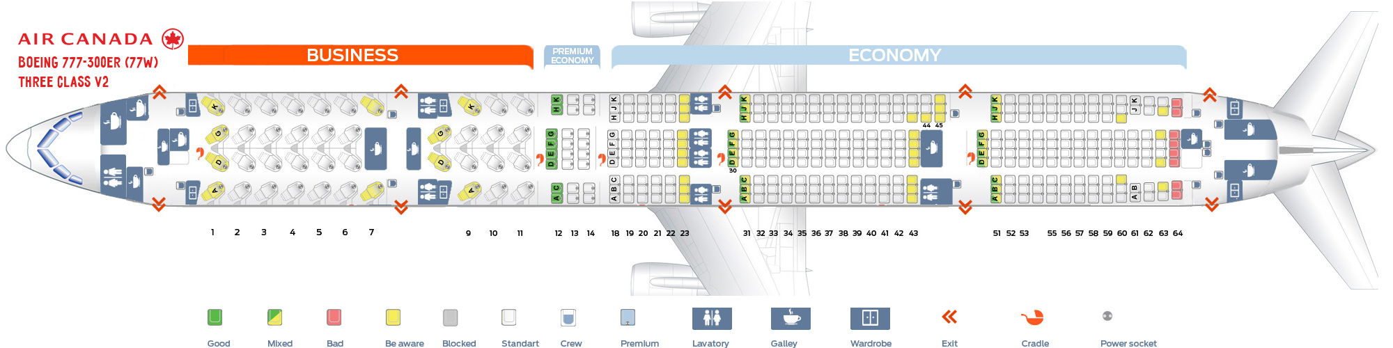 Seat map Boeing 777-300 Air Canada version 2