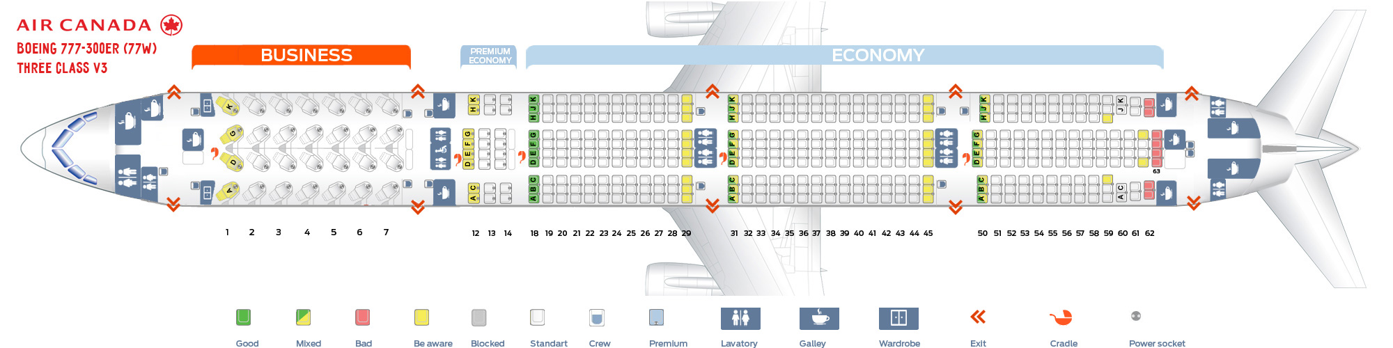 Seat map Boeing 777-300 Air Canada version 3