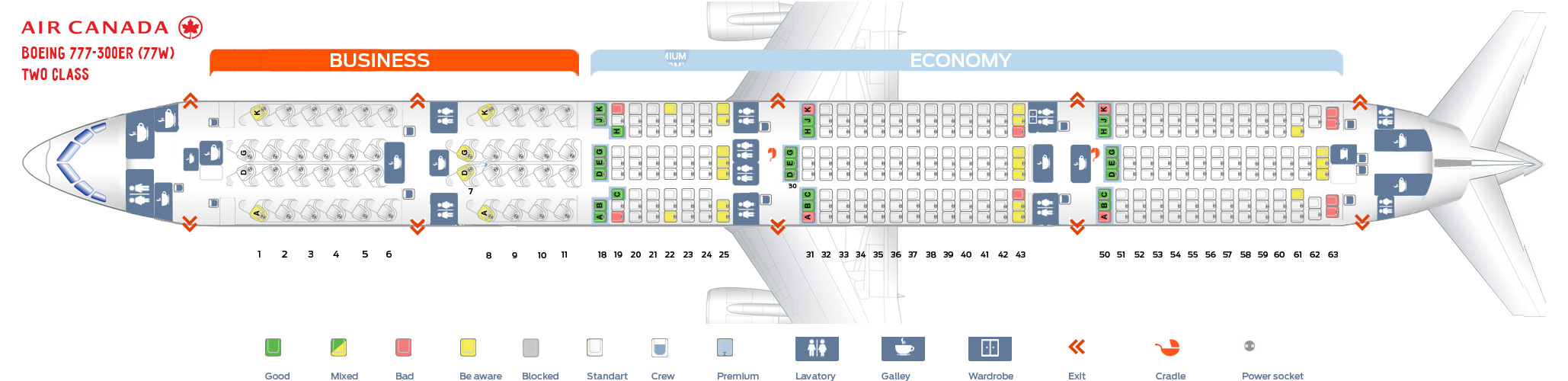 Seat map Boeing 777-300 Air-Canada Two Class