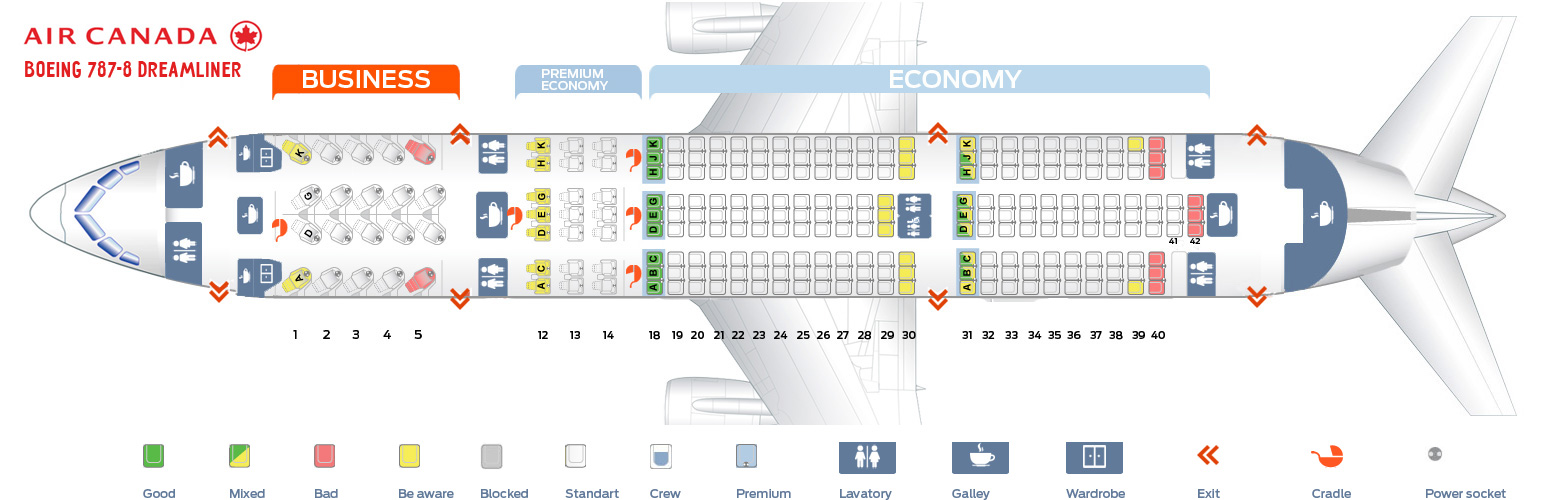 Seat map boeing 787 8 dreamliner air canada best seats in plane