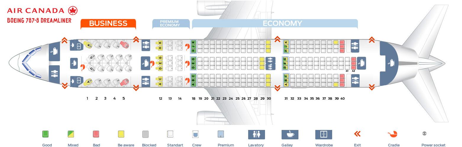 Seat map Boeing 787-800 Dreamliner Air Canada