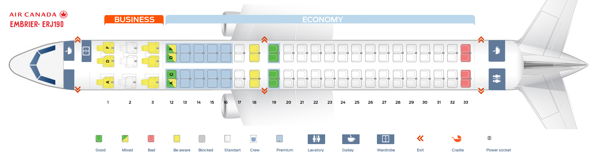 Seat map Embrier ERJ-190 Air Canada