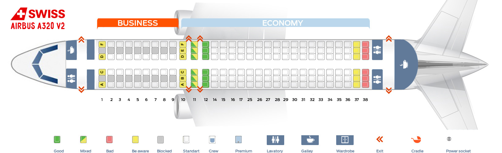 Seat Map Airbus A320 V2 Swiss Airlines