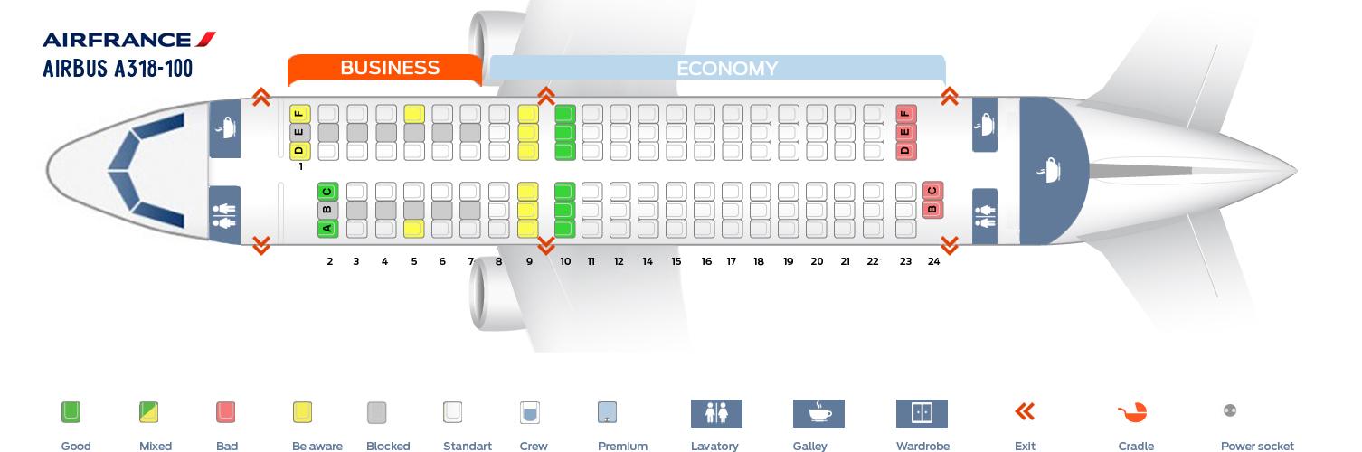 Seat Map Airbus A318-100 Air France