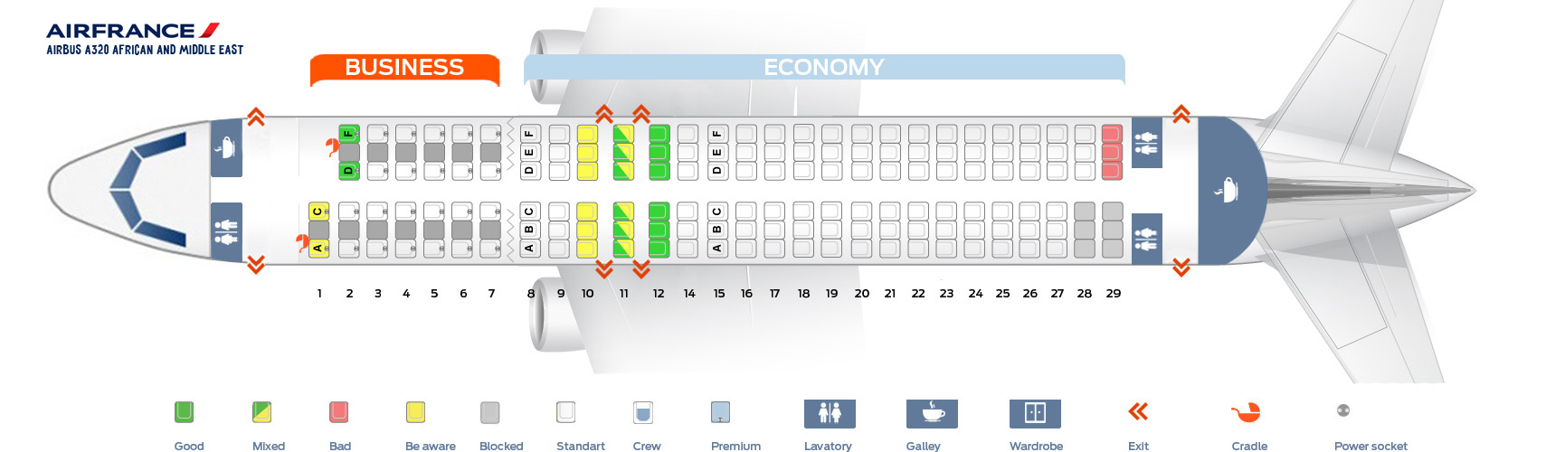 Seat Map Airbus A320 African and Middle East Air France