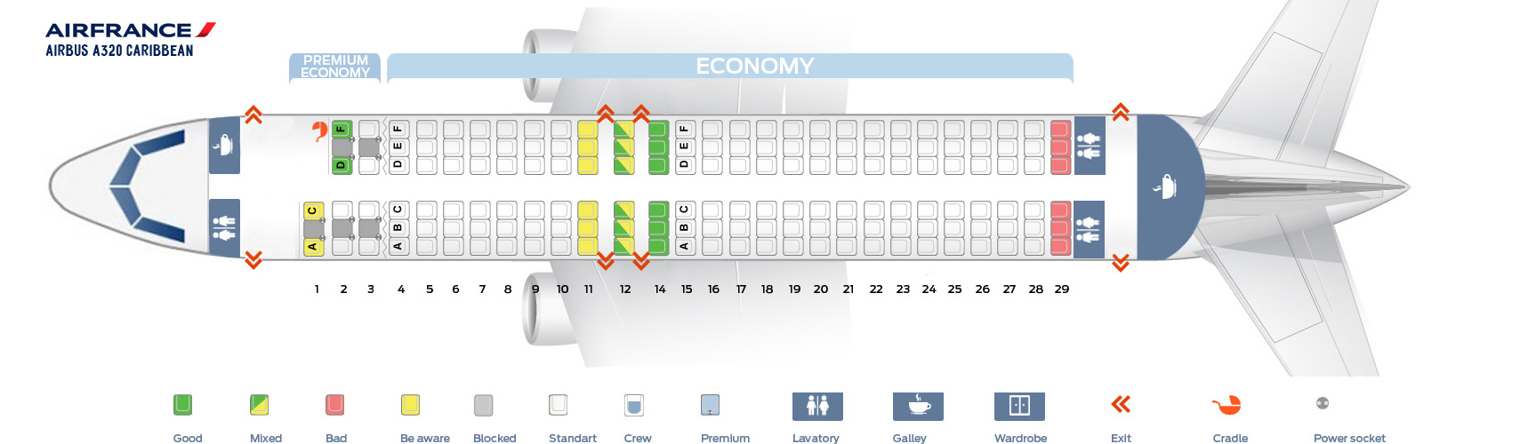 Seat Map Airbus A320 Caribbean Air France