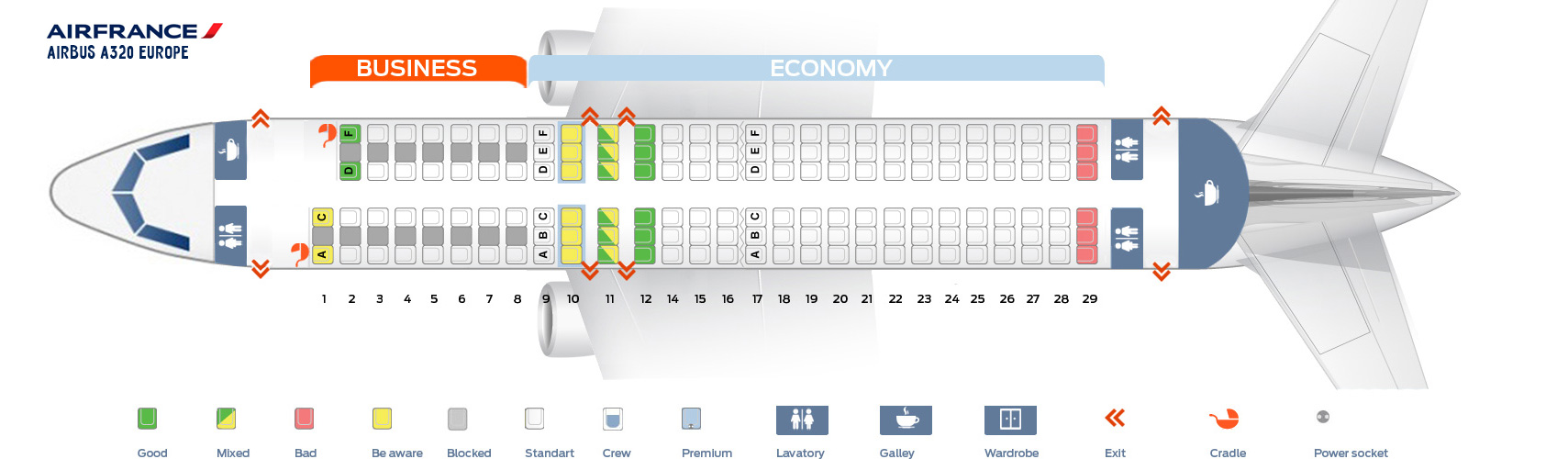 Seat Map Airbus A320 Europe Air France