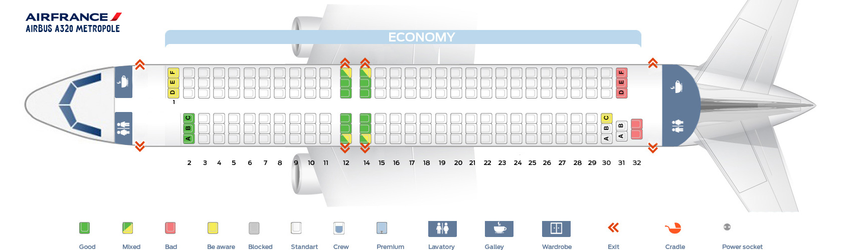 Seat Map Airbus A320 Metropole Air France