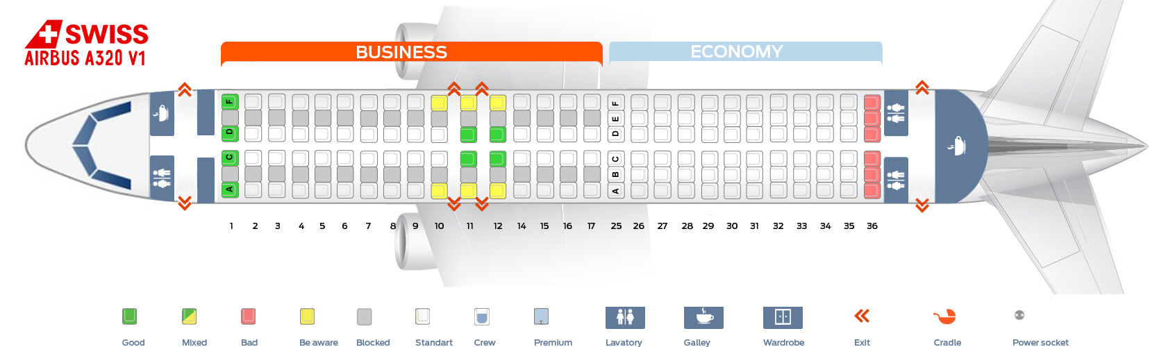 Seat Map Airbus A320 V1 Swiss Airlines