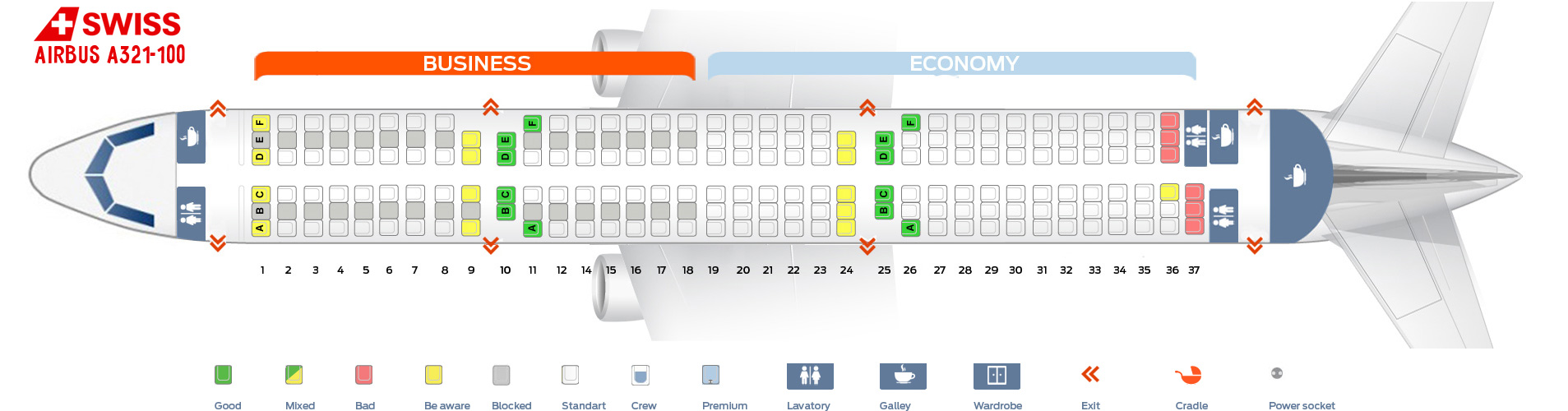 Seat Map Airbus A321-100 Swiss Airlines