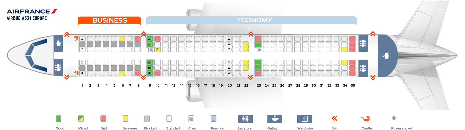 Seat Map Airbus A321 Europe Air France