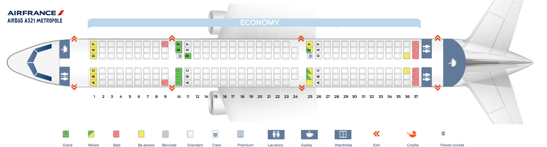Seat Map Airbus A321 Metropole Air France