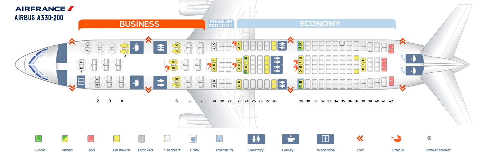 Seat Map Airbus A330-200 Air France